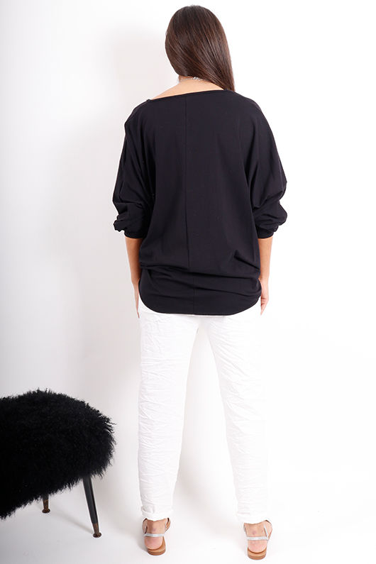 Made In Italy Knot Top Black