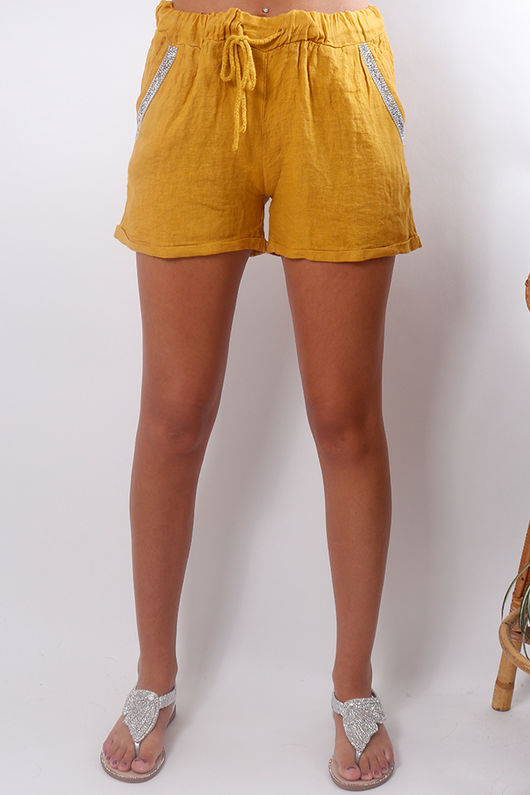 Linen Diamante Shorts Mustard