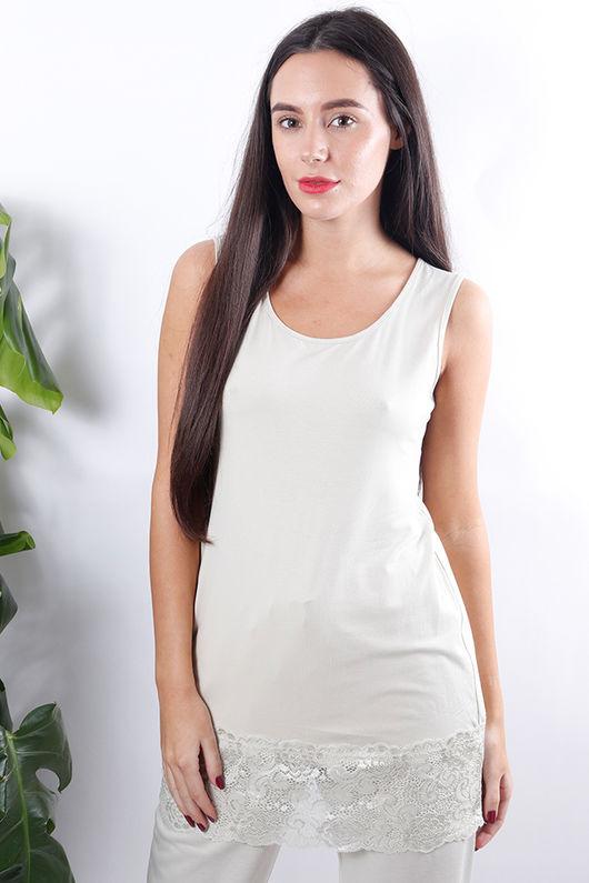 The Carly Lace Hem Vest Cream