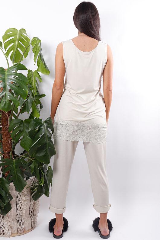 Long Lace Hem Vest Cream