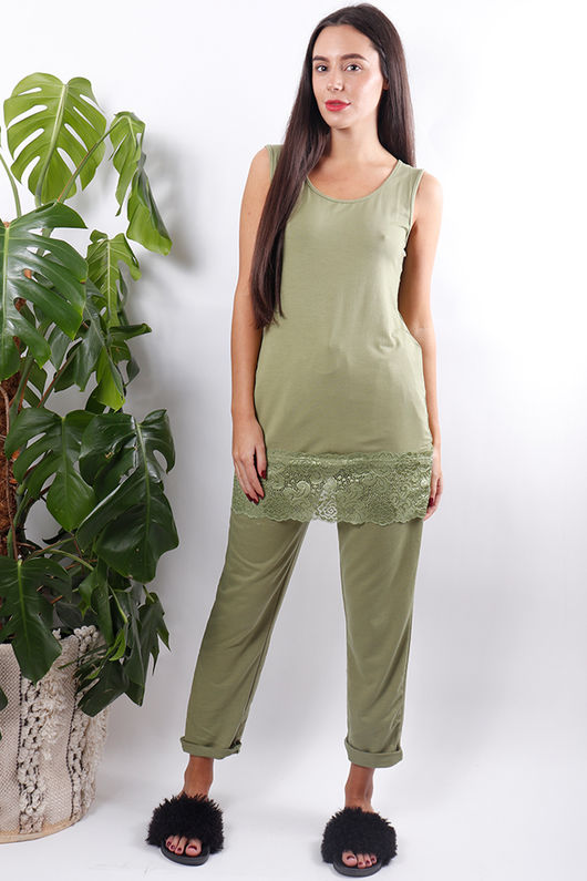 The Carly Lace Hem Vest Green