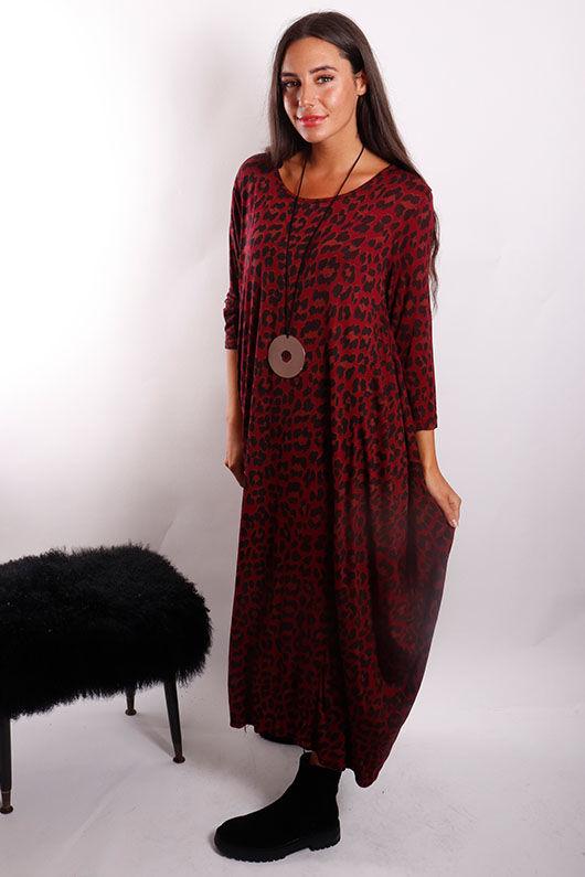Lounge Leopard 3/4 Sleeve Parachute Dress Rioja