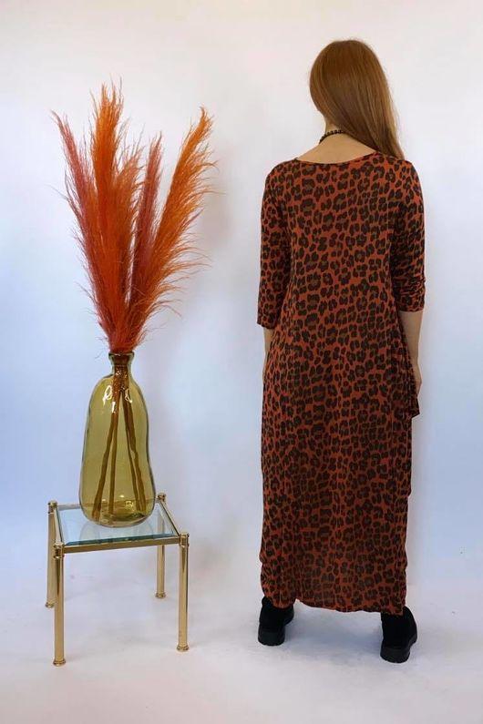 Lounge Leopard 3/4 Sleeve Parachute Dress Rust