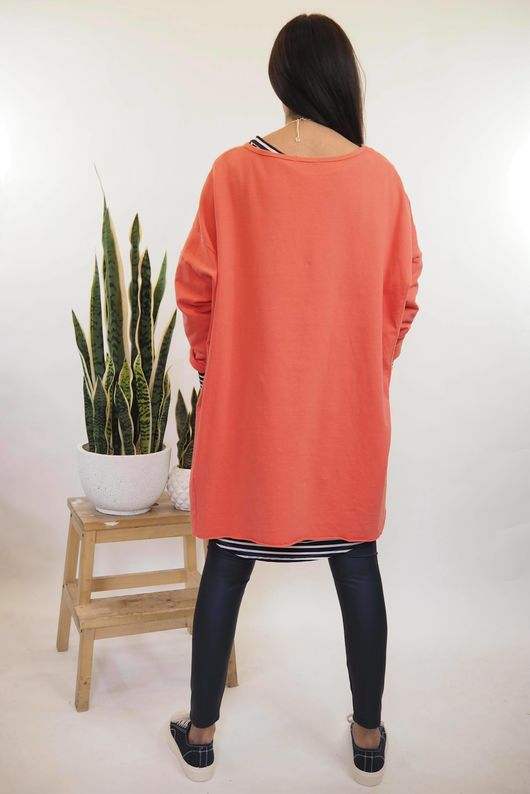 Lux Lounge Lover Hi Low Sweat Coral