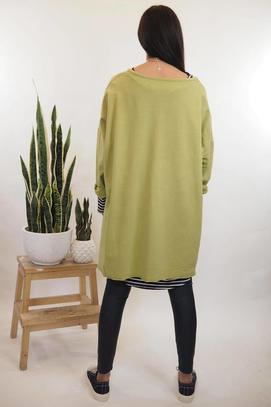 Lux Lounge Lover Hi Low Sweat Lime