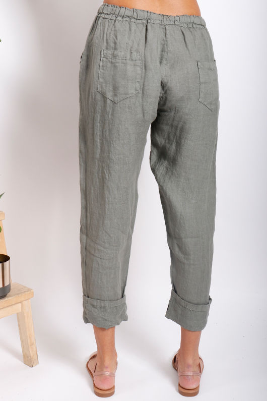 Classic Made In Italy Linen Pant Deep Khaki