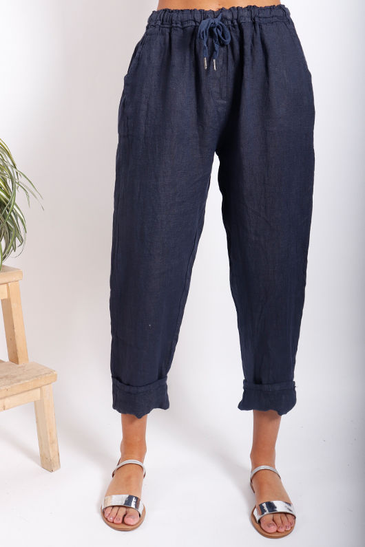Classic Made In Italy Linen Pant Navy