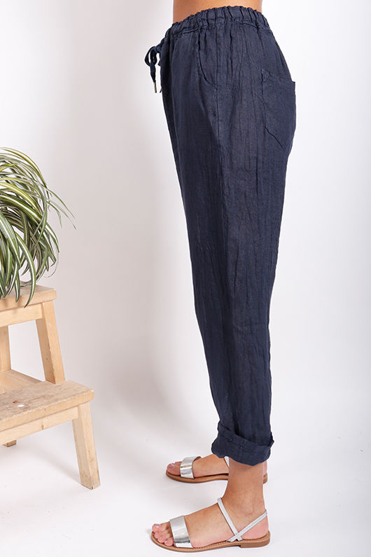 Classic Made In Italy Linen Pant Deep Navy