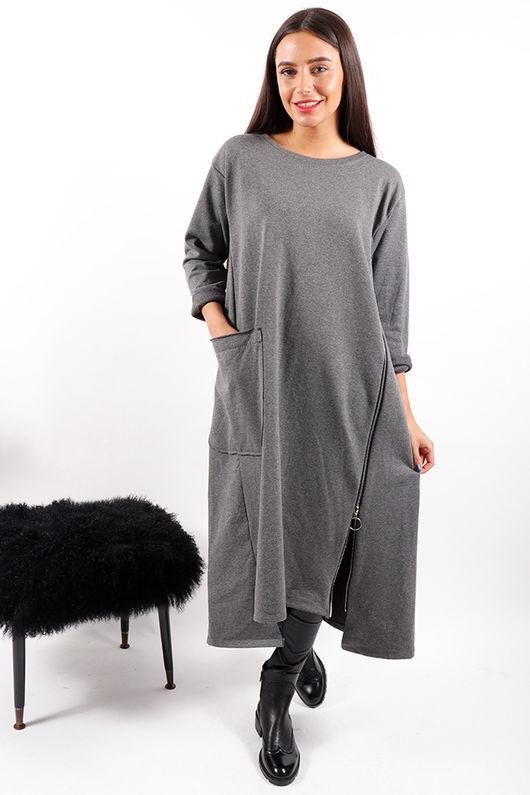 Made In Italy Zippy Dress Grey