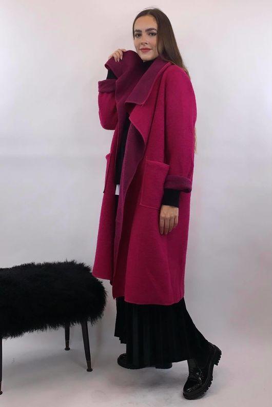 Made In Italy Hot Pink Wool Coatigan
