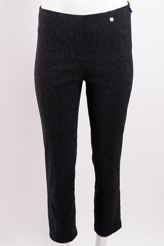 Robell Marie Jacquard Trouser Black