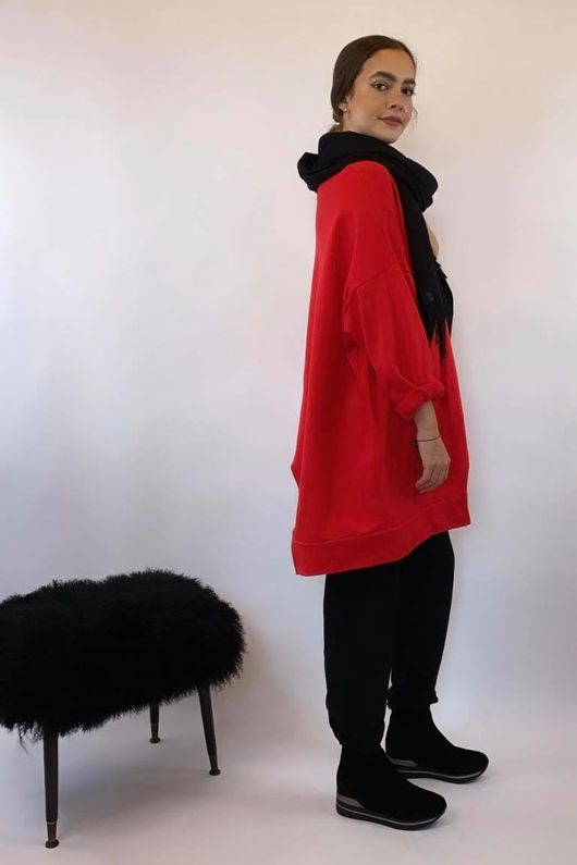 Mercer Abstract Cut Out Sweat Red