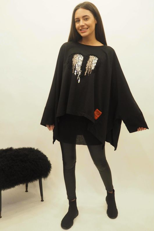 Mercer Applique Heart Oversized Box Sweat Black