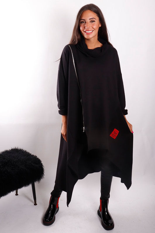 Mercer Hi Low Asymmetric Cowl Sweat Black *BACK SOON
