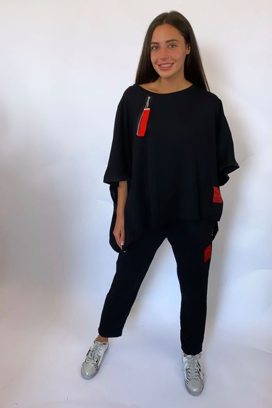 Mercer Oversized Cap Sleeve Top Black