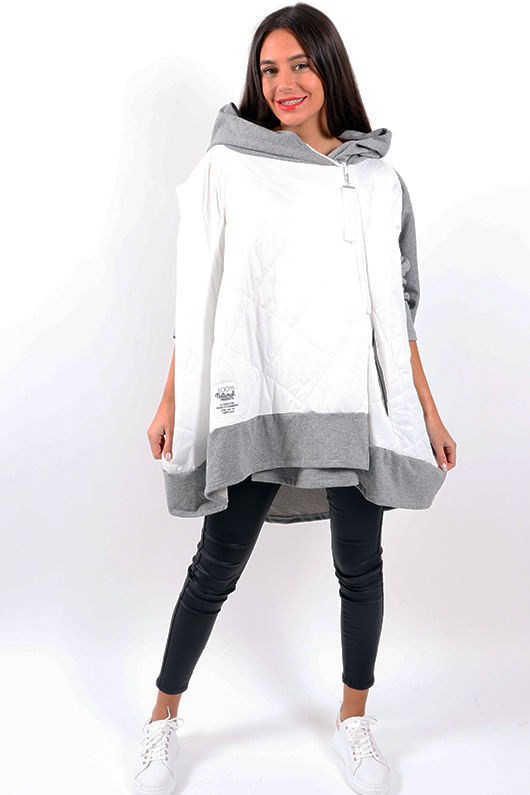 Made In Italy Mercer Oversized Slouch Jacket Marl Grey & White
