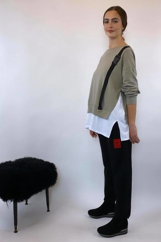 Mercer Seatbelt Layered Sweat Mushroom