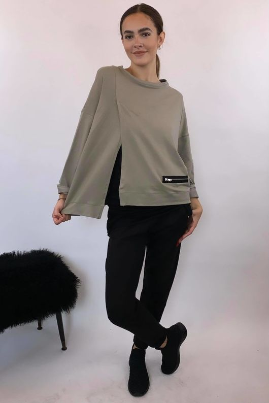 Mercer Split Oversized Box Sweat Mushroom