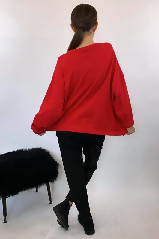 Mercer Split Oversized Box Sweat Red