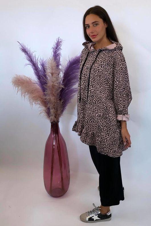 Micro Leopard Oversized Frill Hoody Blush