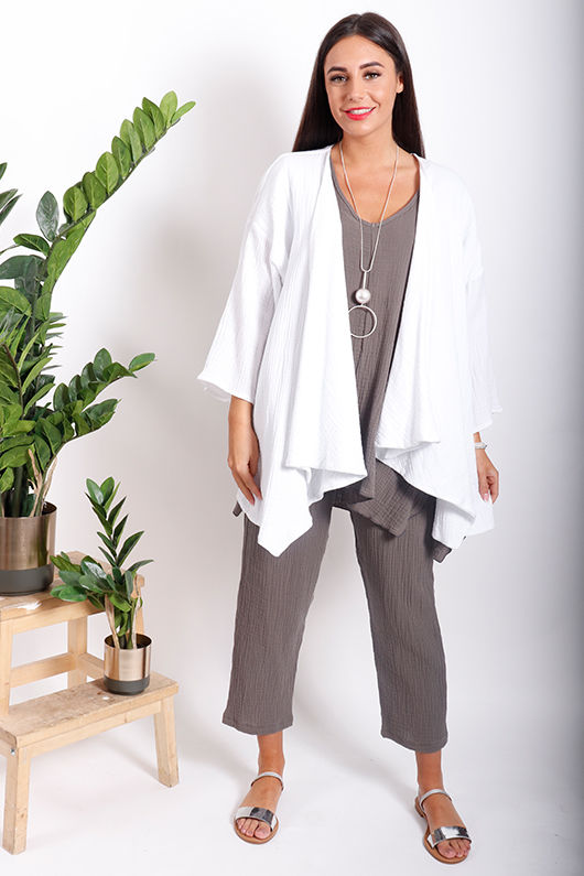 One Life Jilly Drape Front Jacket Snow