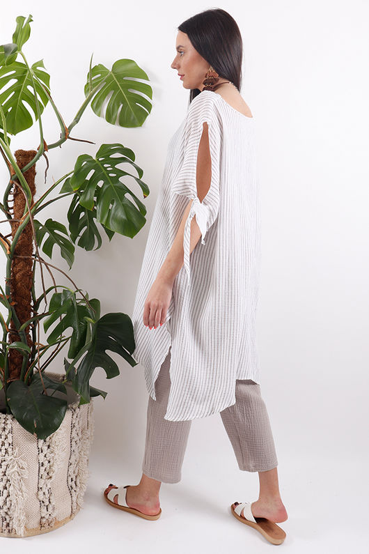 One Life Kivi Top Taupe Stripe