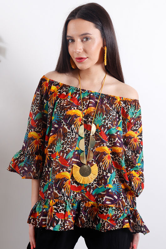 Out of Africa Jungle Bardot Top