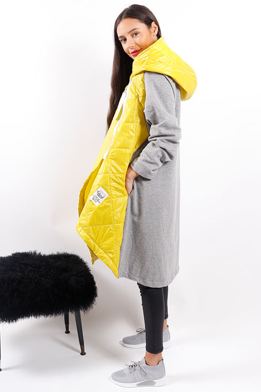 Made In Italy Mercer Oversized Crossfit Jacket Sulphur & Marl Grey