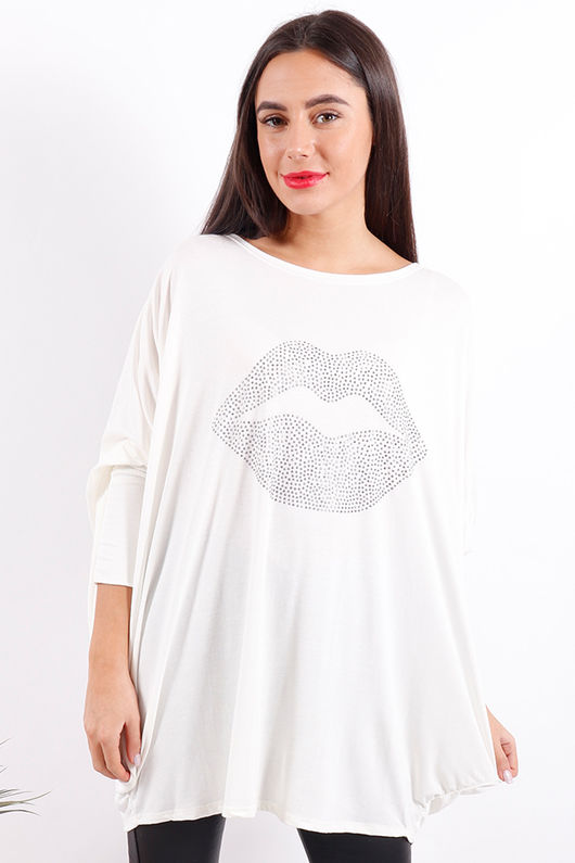 Oversized Kissy Lips Top Winter White