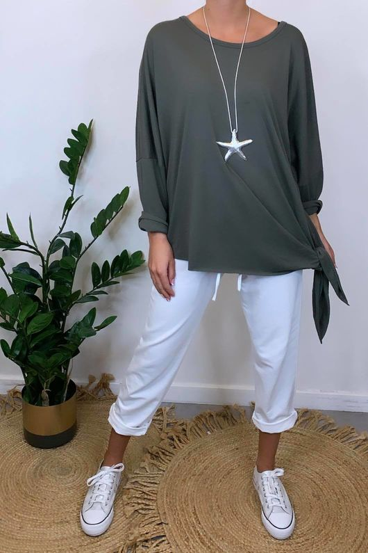 The Oversized Side Knot Top Khaki