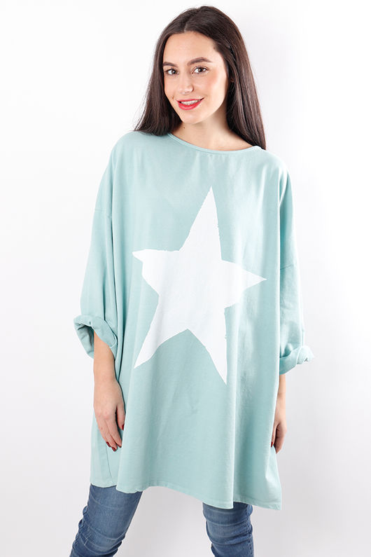 Oversized Paint Star Sweat Aqua