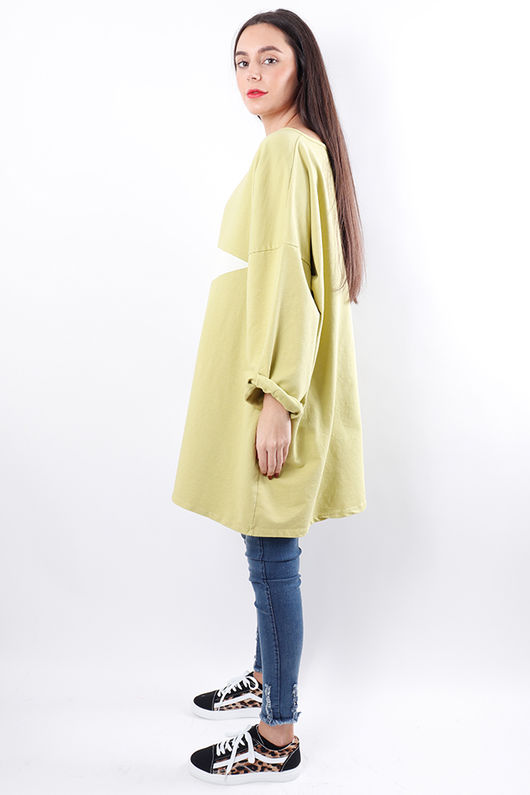 Oversized Paint Star Sweat Lime