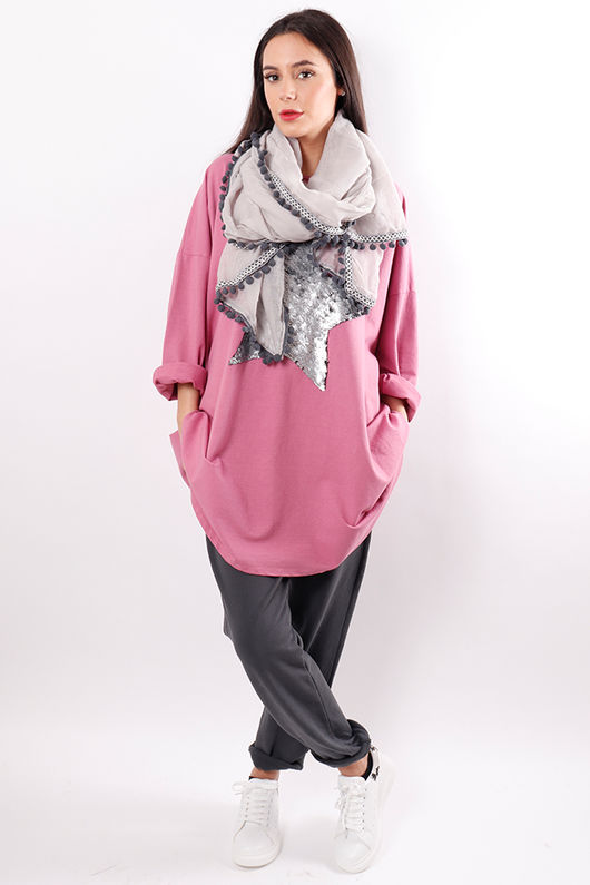 Oversized Sequin Star Sweat Pink