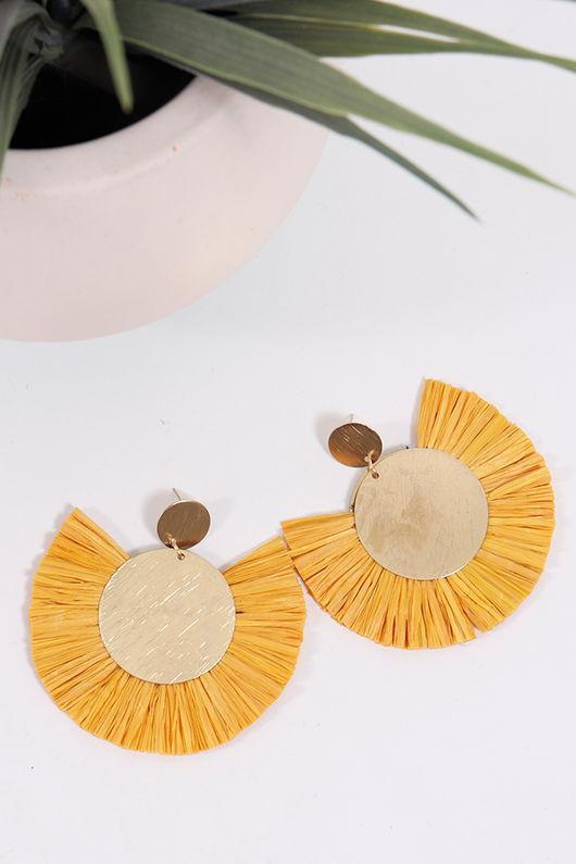 Palme Africa Earrings Mustard