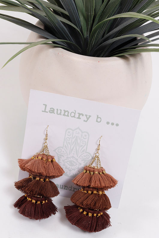 Palme Africa Tassel Earrings Brown