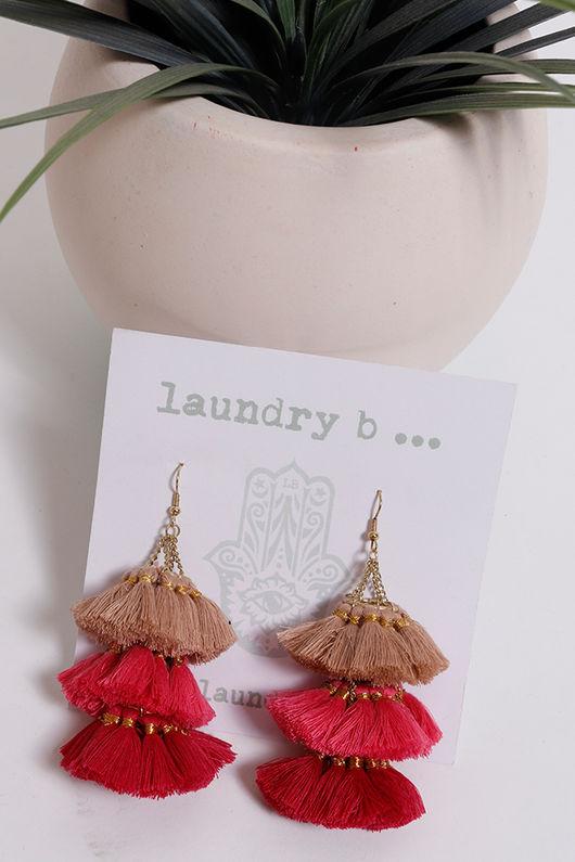 Palme Africa Tassel Earrings Pink