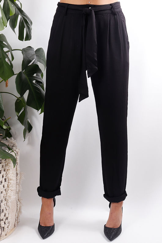 Paper Bag Tie Trousers Black
