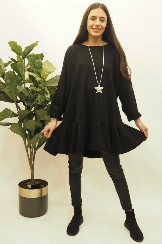 Peplum Tunic Dress Black