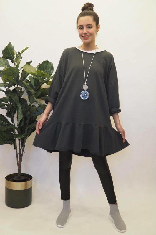 Peplum Tunic Dress Graphite