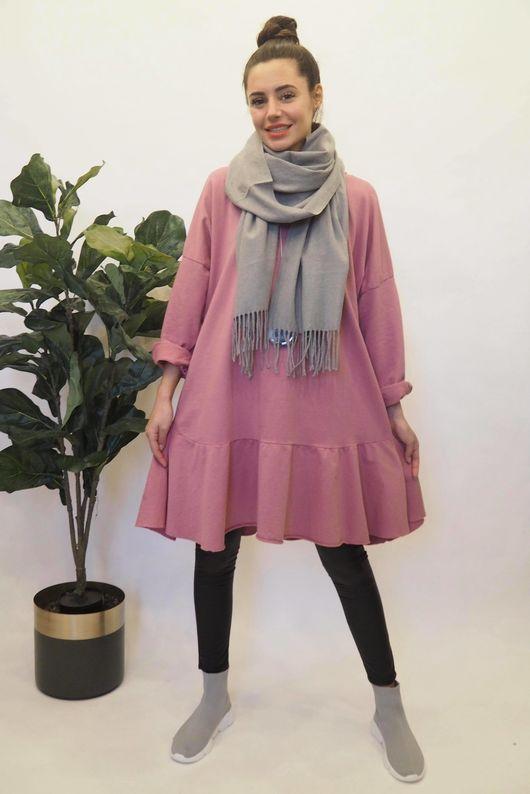 Peplum Tunic Dress Indian Pink