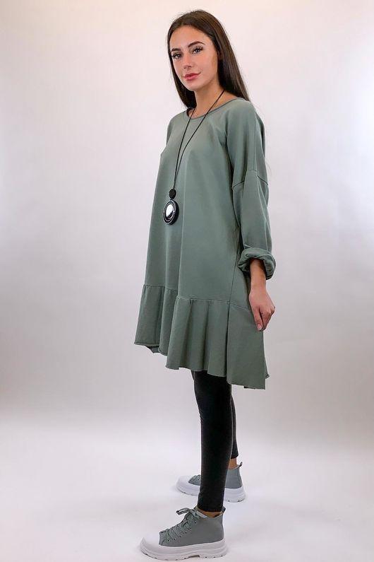 Peplum Tunic Dress Khaki
