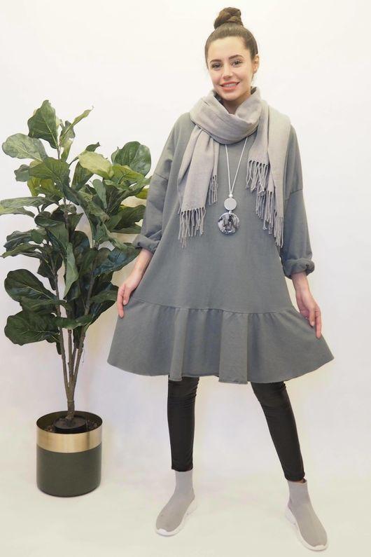 Peplum Tunic Dress Steel