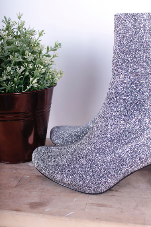 Pull On Lurex Ankle Boots Pewter