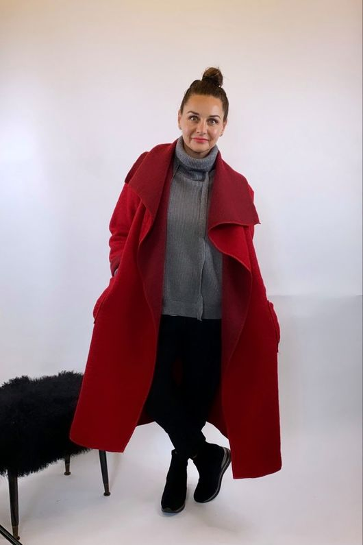 Made In Italy Red Wool Coatigan