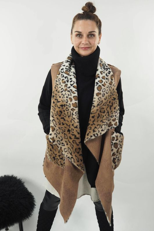 Reversible Leopard Gilet Tan