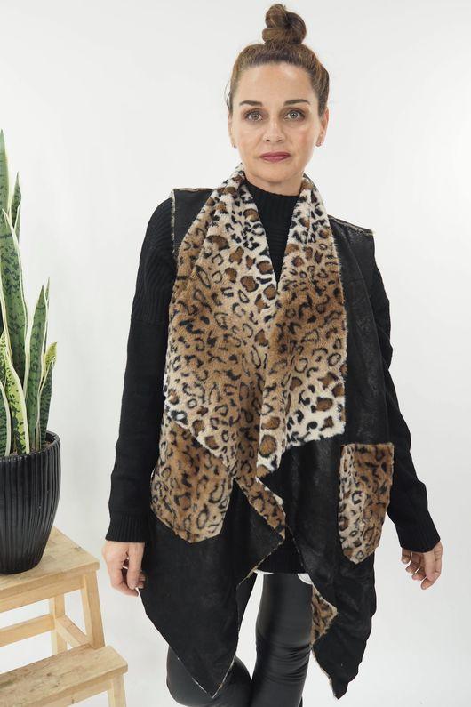 Reversible Leopard Gilet Black