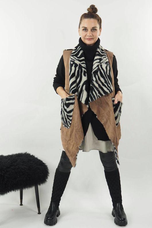 Reversible Zebra Gilet Soft Tan