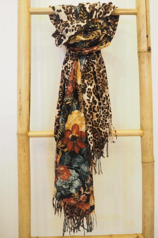 Reversible Leopard & Vintage Floral Scarf