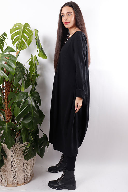 Ribby Cocoon Dress Black