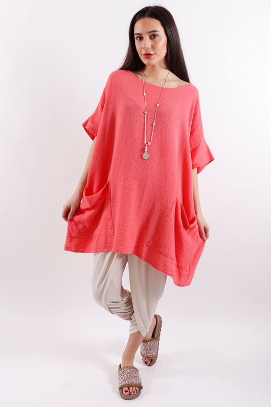 Rio Oversized Pocket Top Coral